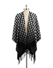 Fringed Houndstooth Wrap