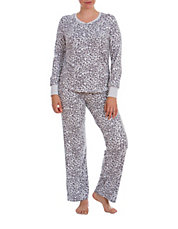 Two-Piece Fuzzy Printed Pajama Set