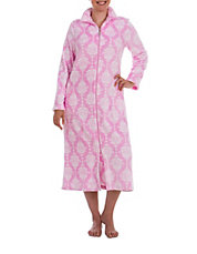 Damask Fleece Zip-Up Robe