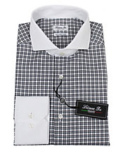 Checked Contrast-Collar Dress Shirt