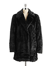 Faux Fur Notch Collar Coat
