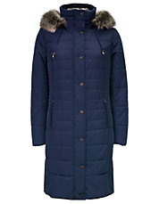 Provence Faux Fur-Trimmed Long Down Puffer Coat