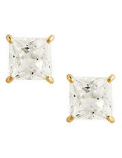 14K Yellow Gold Square Cubic Zirconia Earrings