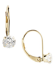 14K Yellow Gold Cubic Zirconia Leverback Earrings