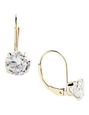 14K Yellow Gold And Round Cubic Zirconia Leverback Earrings
