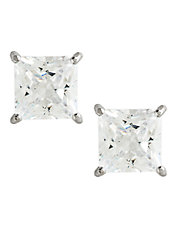 14K White Gold Cubic Zirconia Square Earrings