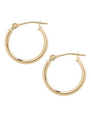14K Yellow Gold Polished Hollow Tube Hoop Earrings