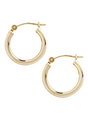 14K Yellow Gold Hollow Tube Hoop Earrings