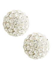 14K Yellow Gold White Crystal Ball Earrings