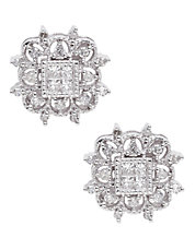 14K Rhodium Plated White Gold Square 0.33ct Diamond Stud Earrings