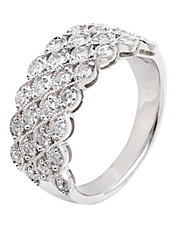 14K White Gold 1.00ct Diamond Basket Weave Ring