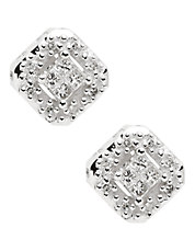 14K Rhodium Plated White Gold Square Diamond Earrings