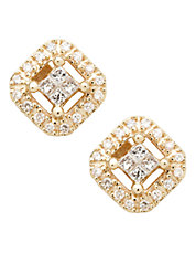 14K Yellow Gold Square 0.20ct Diamond Earrings