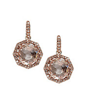 14K Rose Gold Diamond And White Quartz Earrings