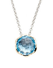 Sterling Silver 14K Yellow Gold And Blue Topaz Brazilliance Pendant