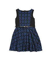 Lace-Insert Belted Skater Dress