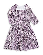 Square Neck Crosshatch Print Dress