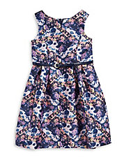 Belted Floral Fit-and-Flare Dress