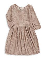 Metallic Floral Lace Dress