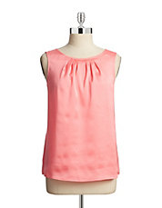 Pleat Neck Charmeuse Tank