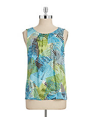 Tropical Print Crinkled Tank