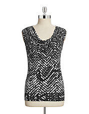 Destructed Chevron Cowl Neck Tank