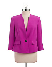 Single-Button Split Neck Blazer