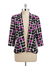 Colour Grid Shawl Blazer