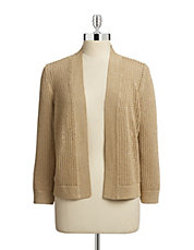 Open Knit Metallic Cardigan