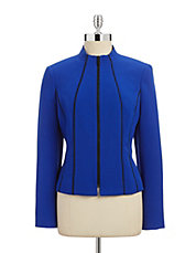 Piped Stretch Crepe Jacket