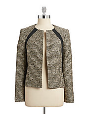 Collarless Metallic Tweed Jacket