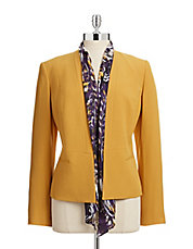 Collarless Blazer with Scarf