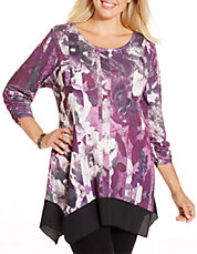 Plus Floral Print Chiffon-Hem Top