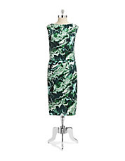 Marbled Print Jersey Sheath Dress