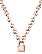 Rose Gold Tone Chain Link Padlock Toggle Necklace