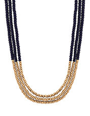 Goldtone Lapis Beaded Necklace