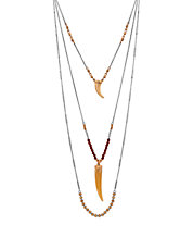 Three-Row Layered Horn Necklace