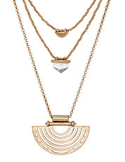 Goldtone Geo Lucky Layer Necklace