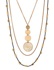 Goldtone Geo Circle Lucky Layer Necklace