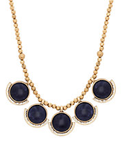 Goldtone Lapis Small Collar Necklace