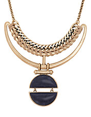 Goldtone Lapis Bold Collar Necklace