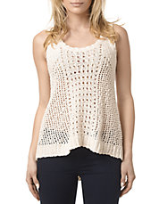 Open Knit Lace-Up Back Tank Top