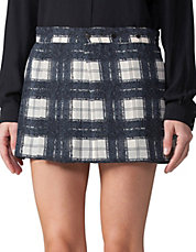 Pleated Windowpane-Check Skirt