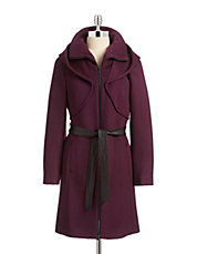 Belted Drape Hood Wool-Blend Coat