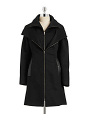 Hooded Gilet Wool Coat