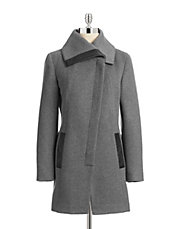Asymmetrical Wool-Blend Coat