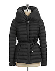 Belted Pillow Collar Down Jacket