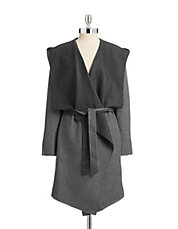 Self-Tie Wing Collar Wool-Blend Coat