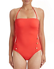 One-Piece Solid Button Swimsuit