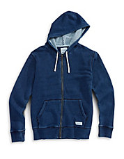 Denim-Look Fleece Zip Hoodie